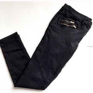 Juicy Couture Womens Sz 32 Jeans Black Skinny Moto